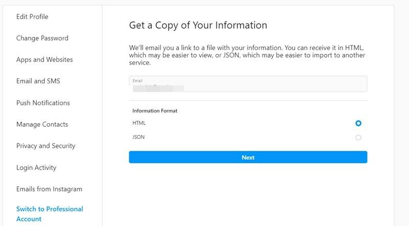 E-Mail zum Herunterladen eines Instagram-Kontos anfordern