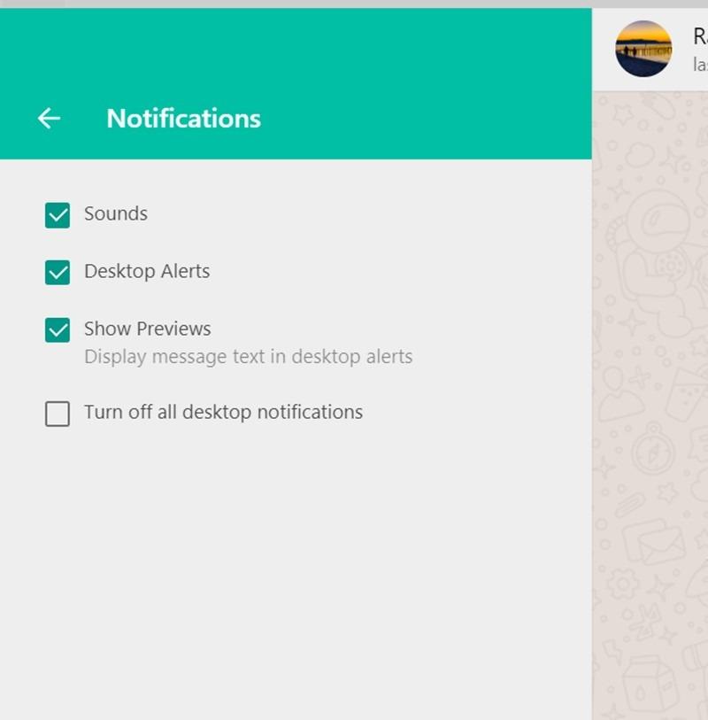 """WhatsApp bietet mehrere Optionen zum Deaktivieren von Webbenachrichtigungen, um Ihnen das Leben zu erleichtern.  Sie können den Ton, Desktop-Warnungen, Vorschauen oder Benachrichtigungen vollständig deaktivieren.  Um Ihre Benachrichtigungen anzupassen, navigieren Sie zu """"WhatsApp Web-Einstellungen → Benachrichtigungen""""."""