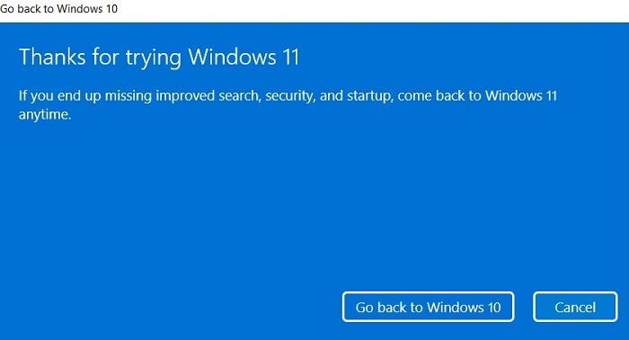Windows11 Rollback Vielen Dank für das Ausprobieren von Windows11