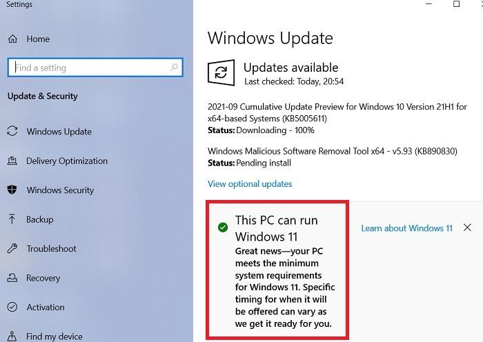 Windows11 Rollback Windows10 PC kann Windows11 ausführen