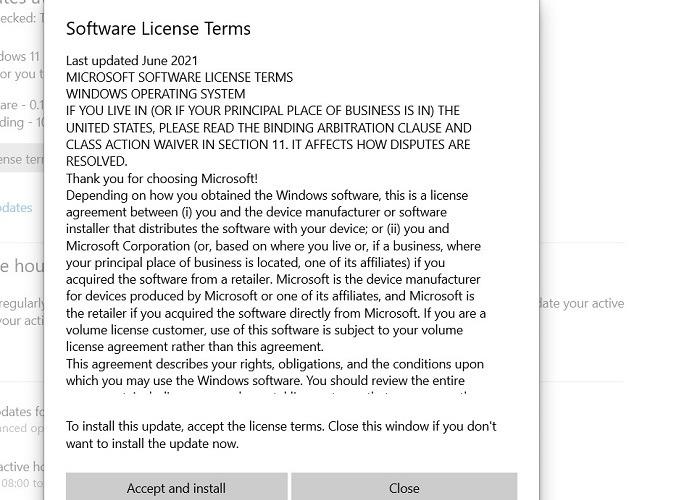 Windows11 Rollback der Windows10-Softwarelizenzbedingungen