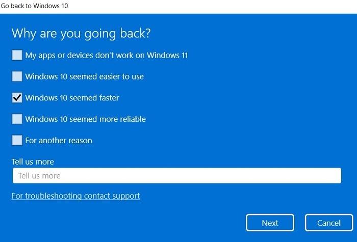 Windows11 Rollback Windows10 Umfragefrage