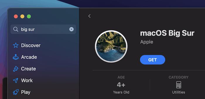 Herunterladen von macOS Big Sur aus dem App Store.