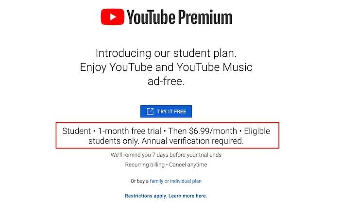 Youtube TV Premium Studentenpreis