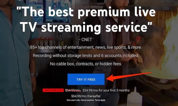 Youtube TV Premium-TV-Testversion