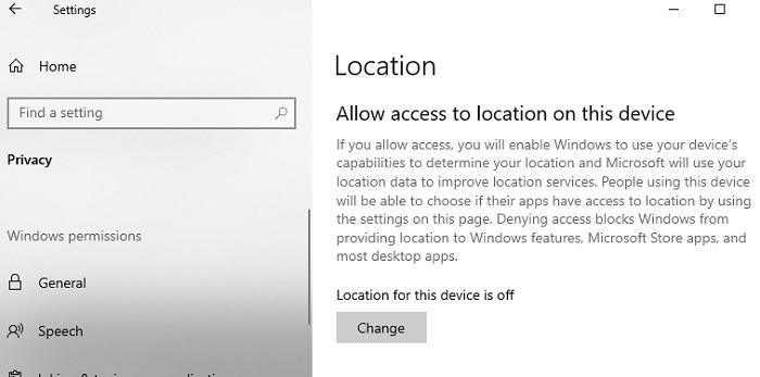 Informationen zu Ihrem Standort wird derzeit am Windows 10-Standort verwendet