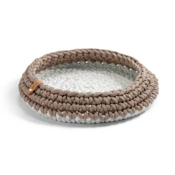 taupe crocheted cat basket