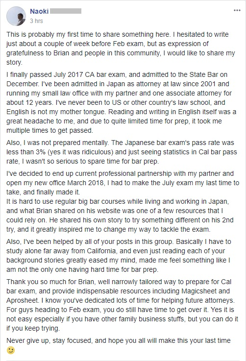 Naoki, a foreign lawyer who never went to an American law school, finally passed the CA bar