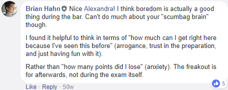 mentality during the bar exam vs. anxiety