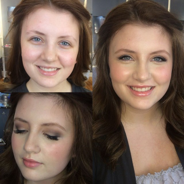 Before and after photo of Alex's makeup work