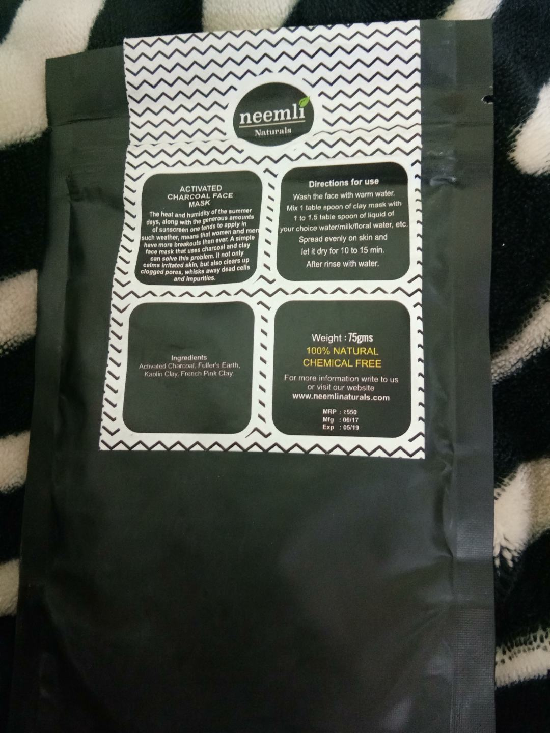 Neemli Naturals Activated Charcoal Face Mask