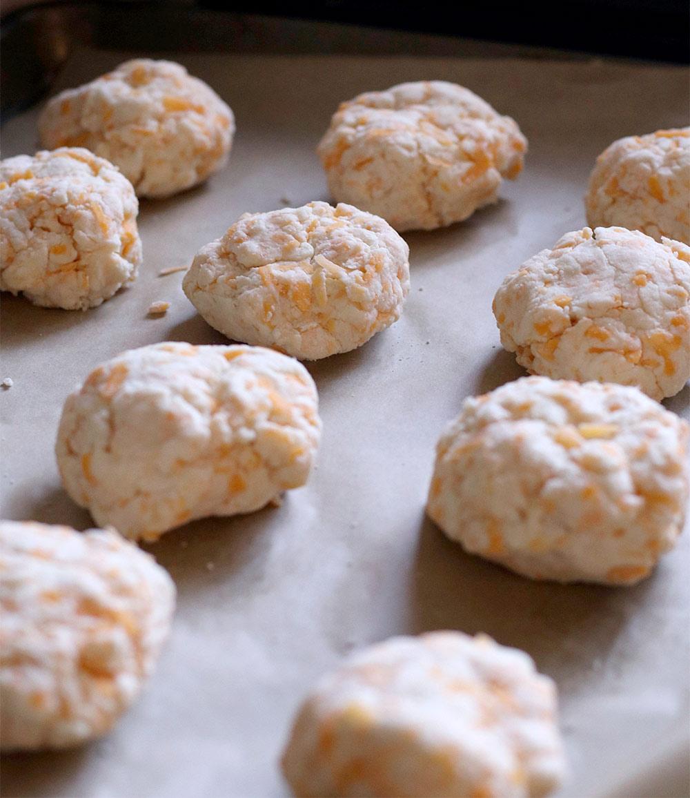 gluten free cheddar garlic biscuit recipe biscuits on baking sheet