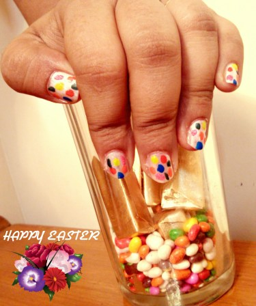 DIY Polka Dots Easter Nail Art