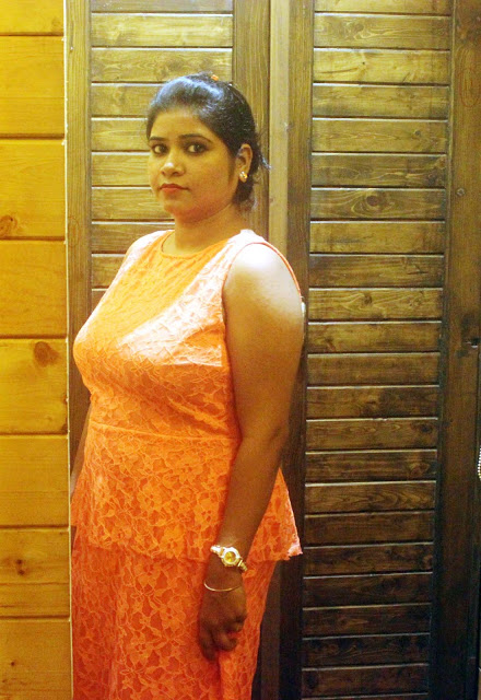 Birthday Dress: Chic in Orange Lace Peplum