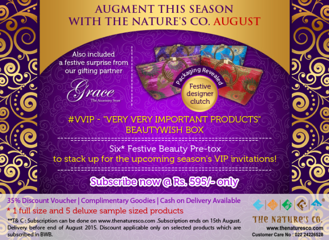 "PR: The Nature's Co. Gets All Set to Make the August ""Pre-Festive"" #VVIP BeautyWish Box"