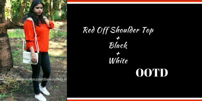 OOTD: Red Off Shoulder Top + Black + White