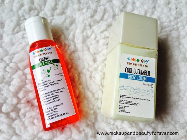 The Nature's Co Cherry Body Wash and Cool Cucumber Body Lotion