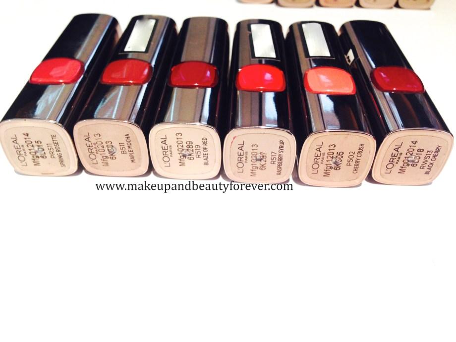 LOreal Paris Color Riche Moist Matte Lipstick Flaming Kiss R518 LOreal Paris Color Riche Moist Matte Lipstick Glamor Fuchsia M511 LOreal Paris Color Riche Moist Matte Lipstick Spring Rosette PR511 swatch