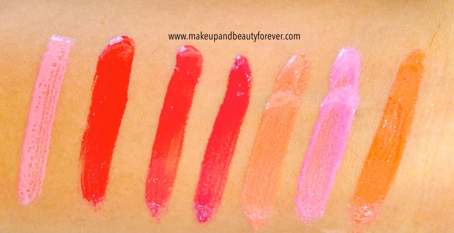All Lakme Absolute Gloss Stylist Lip Gloss Review, Shades, Swatches, Price and Details Pink Pout, Berry Cherry, Berry Cherry, Burgundy Burn, Rust Crush, Neon Pink, Coral Sunset