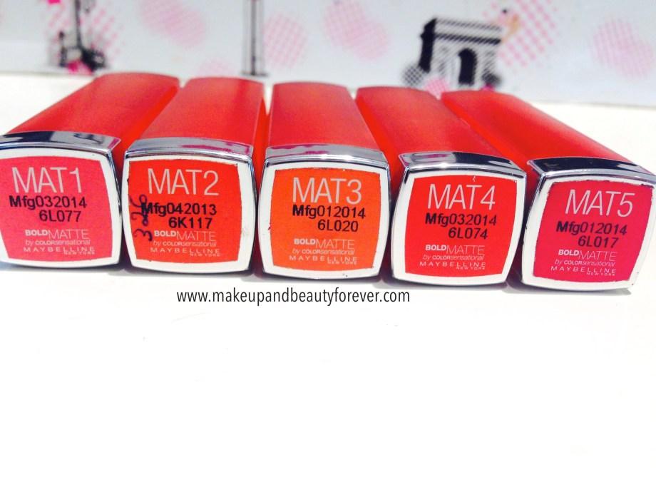 All Maybelline Bold Matte Colorsensational Lipsticks Review, Swatches, Shades, Price and Details Mat 1, Mat 2, Mat 3, Mat 4, Mat 5