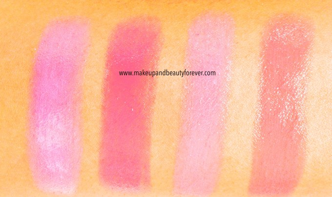 All Maybelline Pink Alert Color Sensational Lip Color Lipsticks POW1, POW 2, POW 3, POW 4 Review, Shades, Swatches, Price