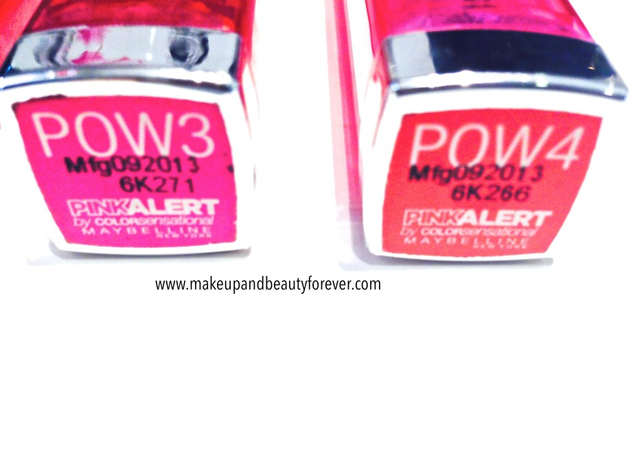 All Maybelline Pink Alert Lip Color Lipsticks POW1, POW 2, POW 3, POW 4 Review