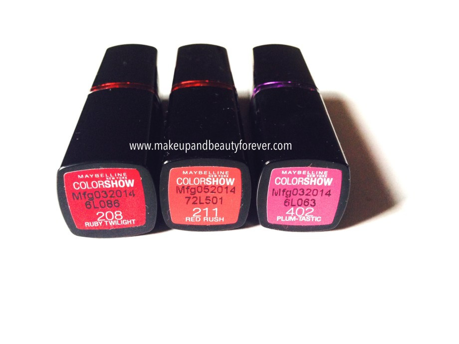 All Shades of Maybelline ColorShow Lipstick Ruby Twilight 208, Red Rush 211, Plum-Tastic 402