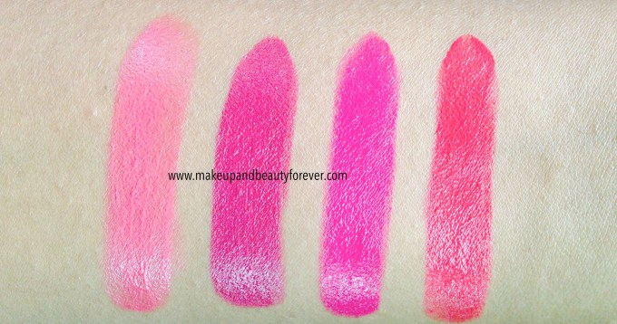 All Shades of Maybelline ColorShow Lipstick Swatches Shades, Review, Price, Details Crushed Candy 103, Violet Fusion 109, Fuschia Flare 110, Cherry Crush 207