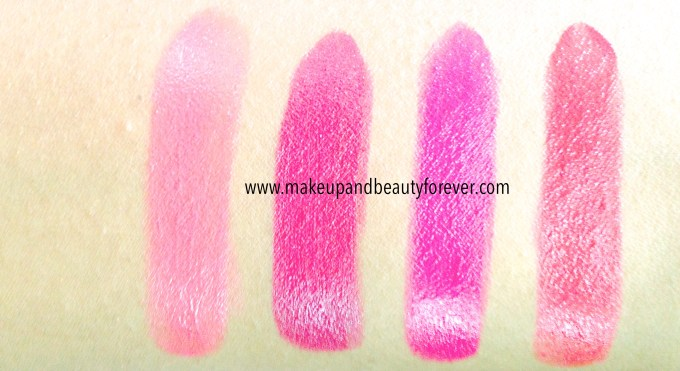 All Shades of Maybelline ColorShow Lipstick Swatches, Shades, Review Price Details Crushed Candy 103, Violet Fusion 109, Fuschia Flare 110, Cherry Crush 207