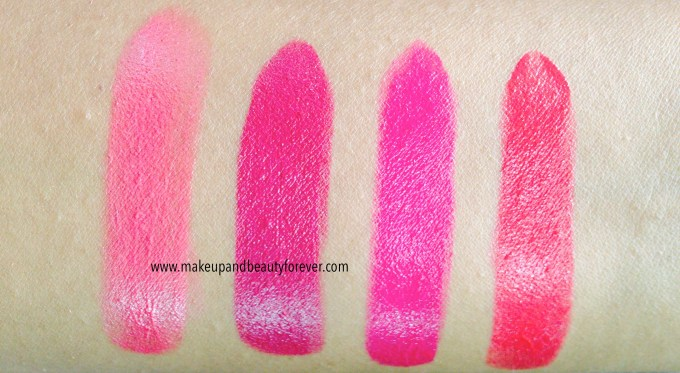 All Shades of Maybelline ColorShow Lipstick Swatches, Shades, Review, Price Details Crushed Candy 103, Violet Fusion 109, Fuschia Flare 110, Cherry Crush 207