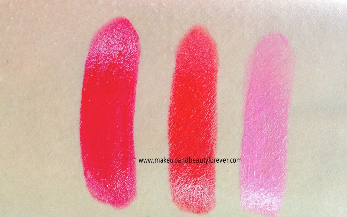 All Shades of Maybelline ColorShow Lipstick Swatches, Shades Review, Price Details online available India Ruby Twilight 208, Red Rush 211, Plum-Tastic 402
