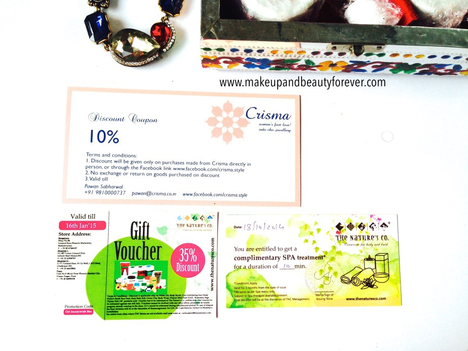 Beauty Wish Box October 2014 - Bridal Bliss by The Nature's Co voucher