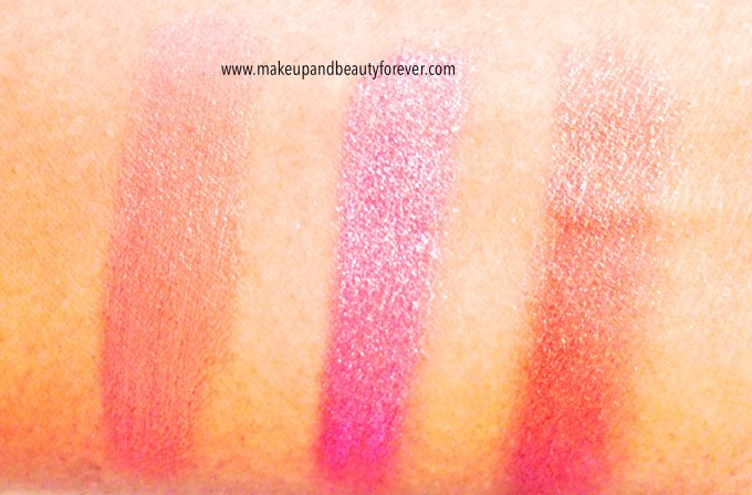 Faces Canada Glam On Cream Blush Review, Shades, Swatches, Price and Details sunkissed, hint of pink, pink mauve, peach glow