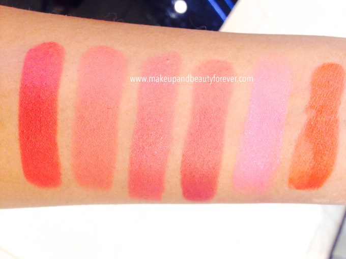 Lakme 9 to 5 lipstick Rosy Sunday, Red Chaos, Rasphberry Badge, Mulberry Work, Sorbet Tuesday, Cherry Chic