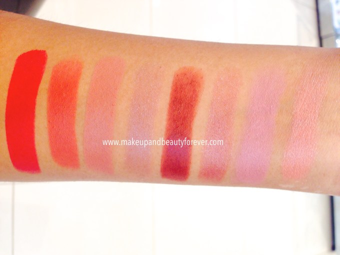Lakme 9 to 5 lipstick Scarlet Drill, Toffee Nexus, Bronze Award, Cabernet Category, Burgundy Business, Pink SLip, Beige Post, Red Coat