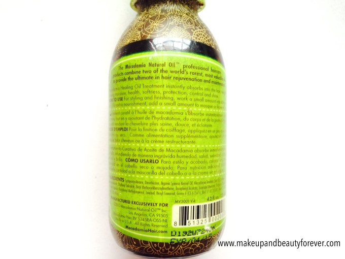 Macadamia Natural Oil Healing Oil Treatment Review price India