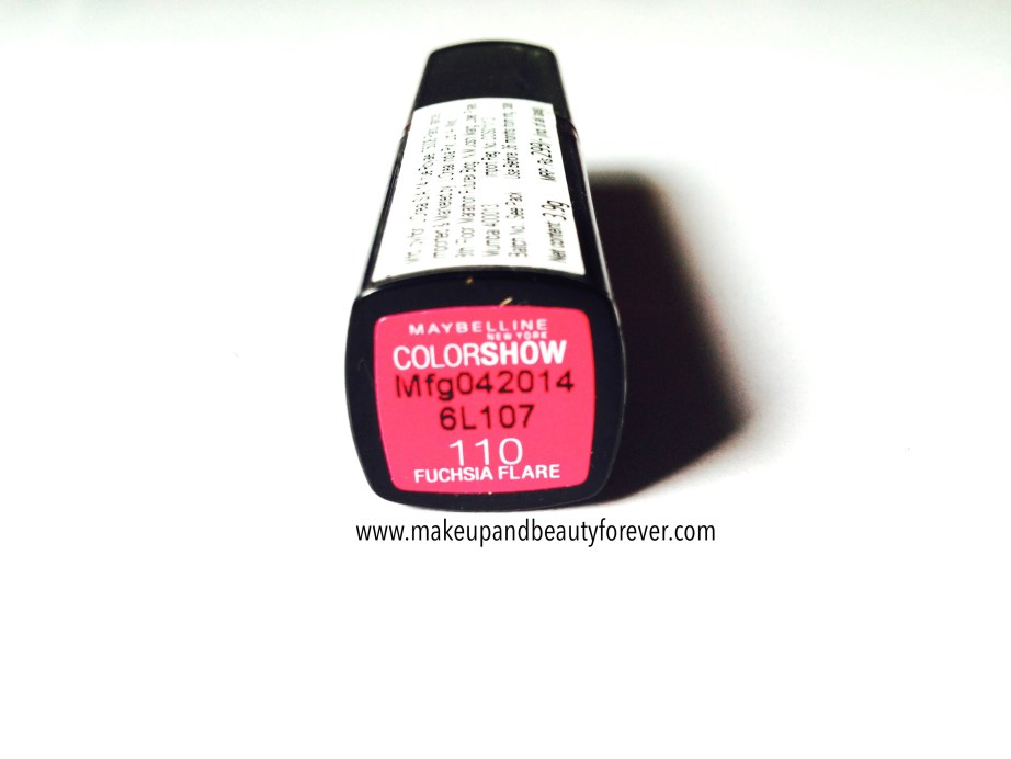 Maybelline ColorShow Lipstick Fuchsia Flare 110 Review Swatch Price, FOTD