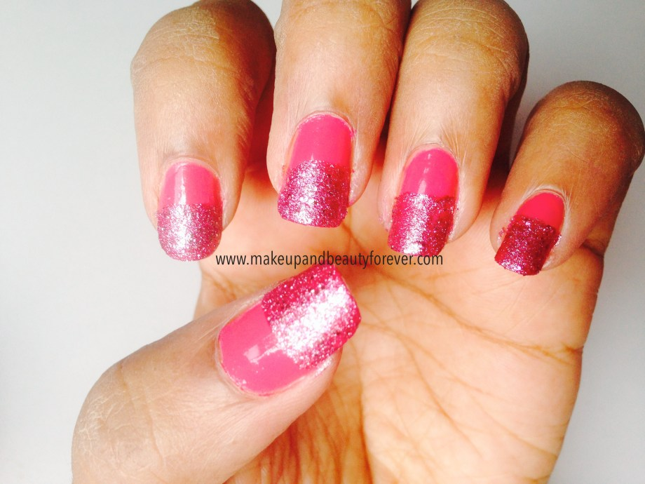 Pink and Black Glitter Festive Nail Art Tutorial maybelline color show fiery fuchsia and matinee mauve