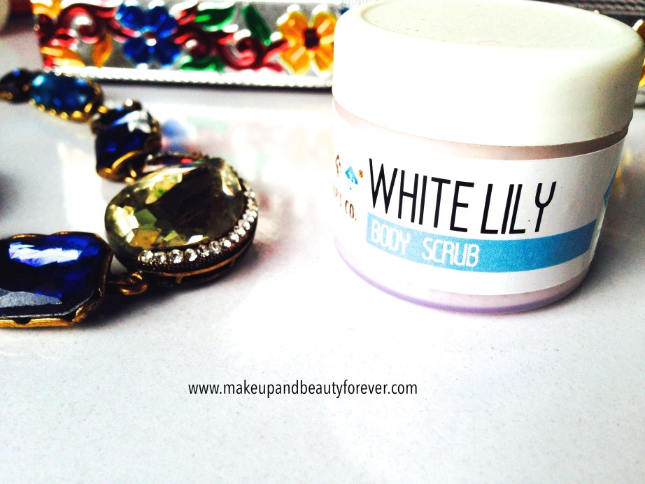 The Nature's Co White Lily body scrub in beauty wish box bridal bliss