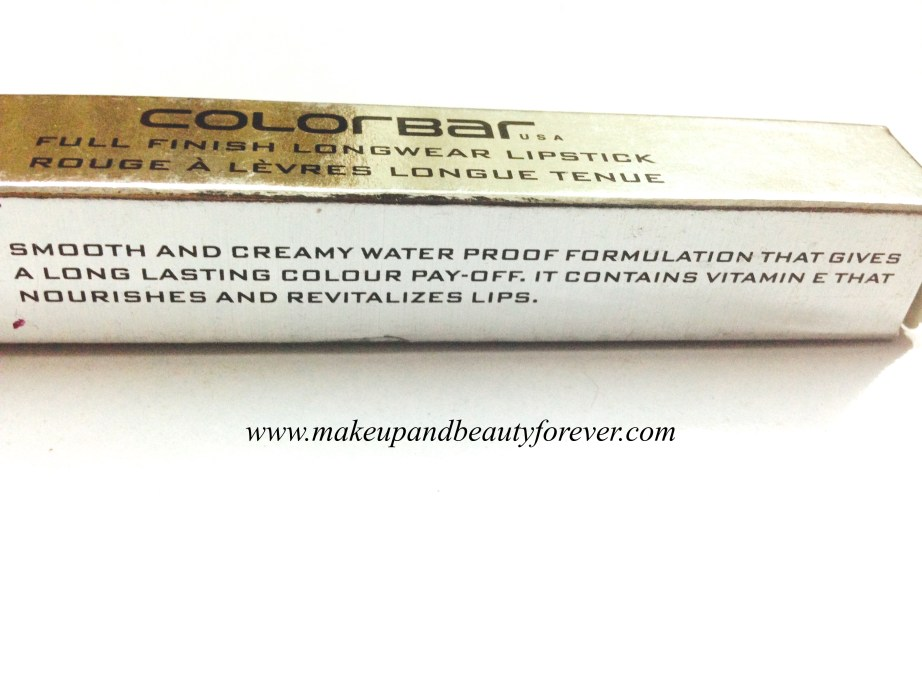 Colorbar Full Finish Long Wear Lipstick Get Ready 11 Review, Swatch, FOTD 4