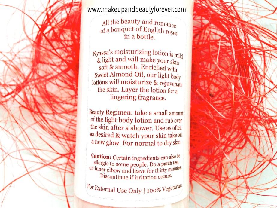 Nyassa Rose Bouquet Light Body Lotion Review label