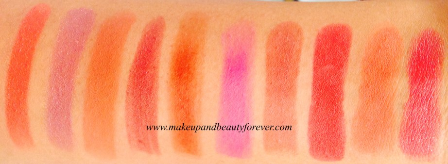 Revlon Super Lustrous Lipstick Swatches Kiss Me Coral, Blushed, Apricot Fantasy, Caramel Candy, Terra Copper, Berry Couture, Chocolate Velvet, Retro Red, Fiery Sunset, Smoky Rose