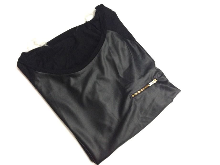 Black leather designer top party wear