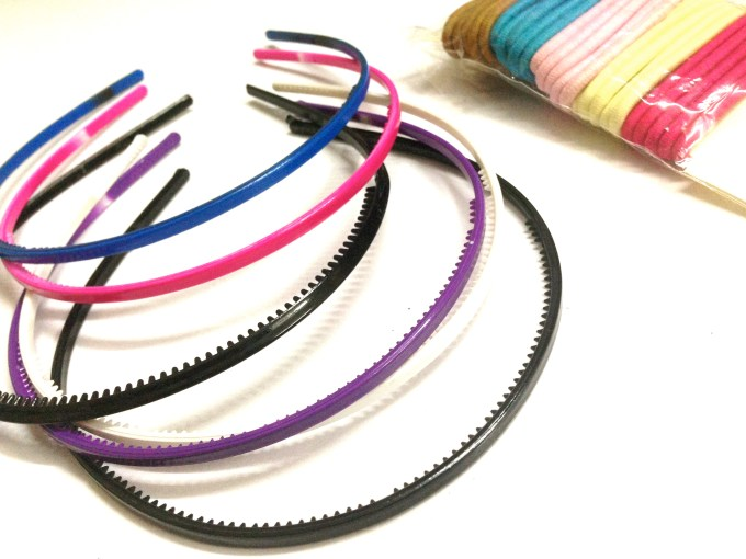 Blue pink black purple hairbands and scrunchies