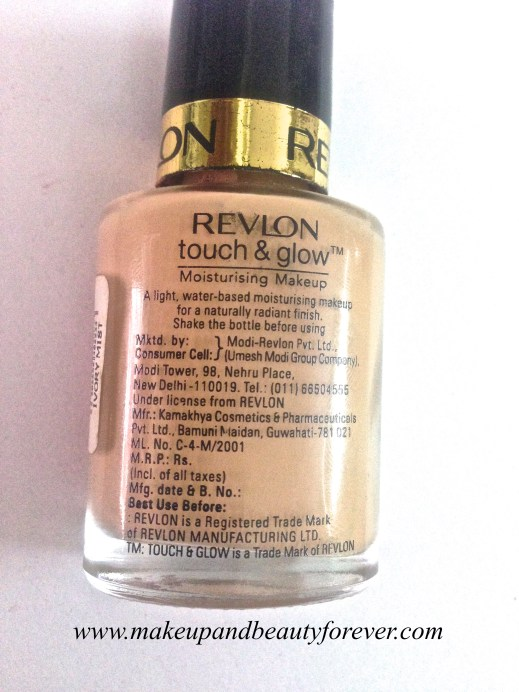 Revlon Touch and Glow Moisturising Makeup Foundation Review swatch 3
