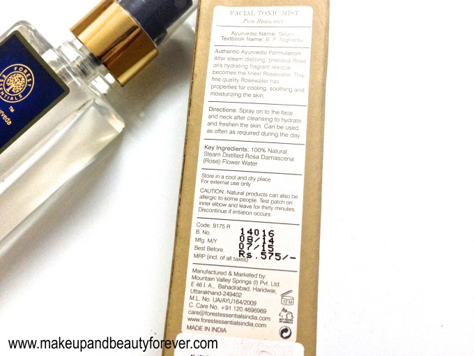 Forest Essentials Facial Tonic Mist Pure Rosewater Review price online India