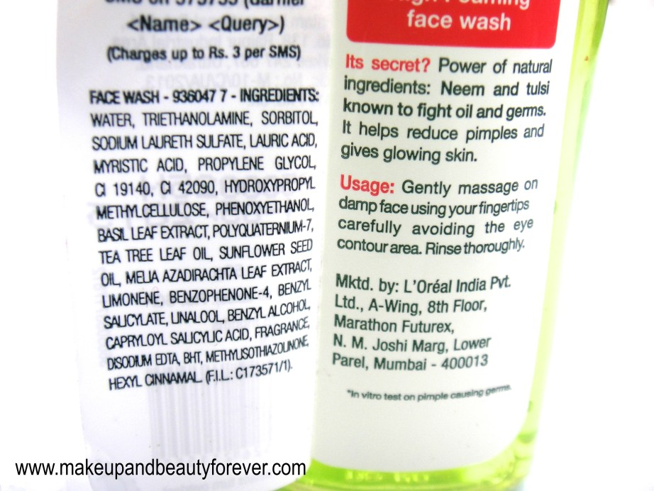 Garnier Pure Neem Tulsi High Foaming Face Wash Review