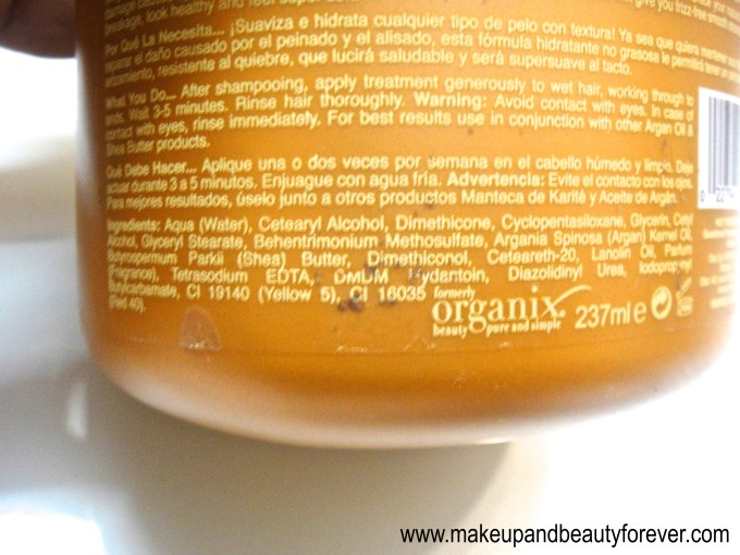 Organix Smooth Hydration Argan Oil and Shea Butter Moisture Restore Mask Review Ingredients