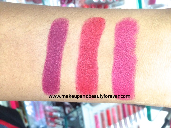 Deborah Milano Velvet Lipsticks 01 Nude Rose 02 Hot Fucsia 03 Fire Red 04 Vintage Purple Review Swatches Price India