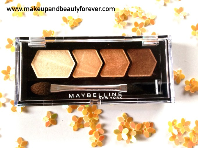 Maybelline Eyestudio Diamond Glow Eye Shadow Quad 01 Copper Brown Review Swatches Price Details MBF